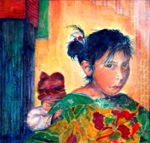 Guatemalan Girl with Baby, mixed media painting by Joan Pechanec