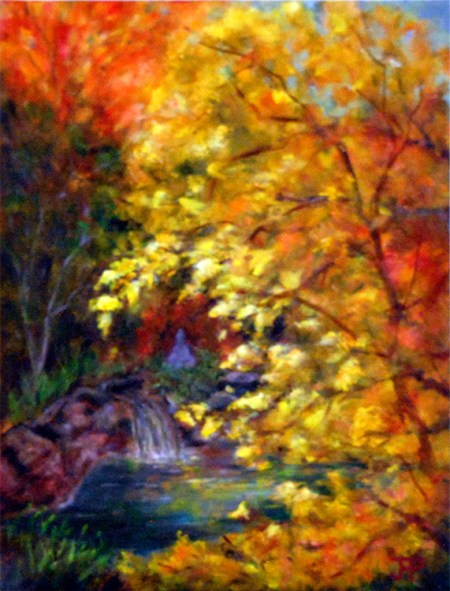 Pool in Fall, oil painting by Joan Pechanec