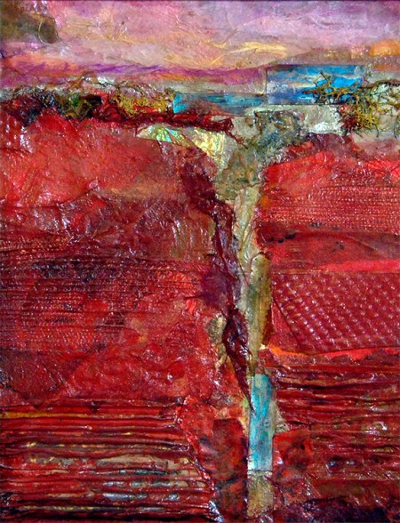 Red Canyon, mixed media painting by Joan Pechanec
