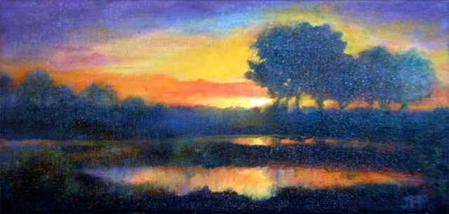 Sunset on Pond, oil painting by Joan Pechanec