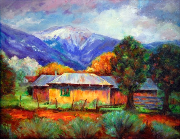 Yellow House, oil painting by Joan Pechanec