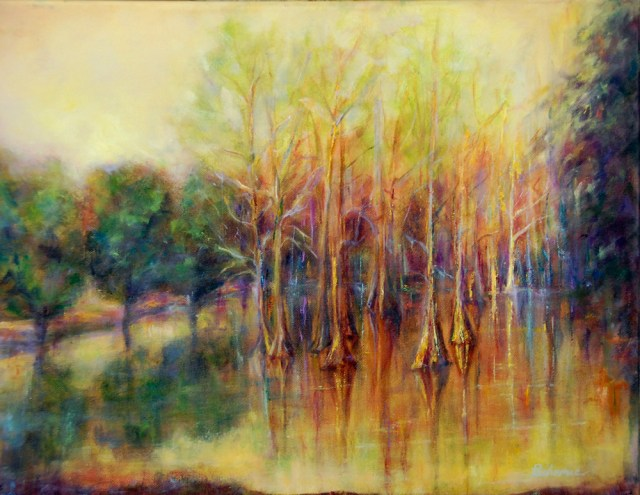 Louisiana Cypress Pond, 16 x 20 Original oil painting by Joan Pechanec
