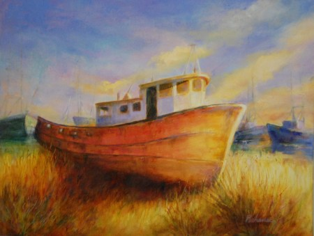 Tugboat at Bayou le Batre, original oil painting by Joan Pechanec