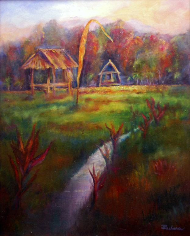 Afternoon in Bali, Image of original oil painting of a landscape with grass roofed huts in Bali, 16x20 unframed, 17x22 framed, by Joan Pechanec, Mt Shasta, CA, 2014.