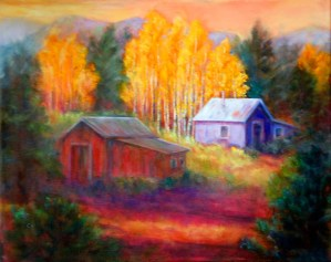 Blue Cottage, Image of 16x20 original oil painting of two rustic buildings in a countryside landscape by Joan Pechanec, Mt Shasta, CA, 2014.