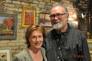 Artist Joan Pechanec with husband Charlie Price, author, at the Dunsmuir ArtWalk, October 10, 2014