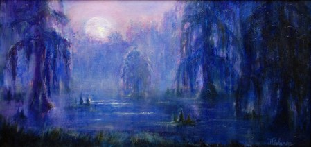 Moonlit Bayou, Image of original oil painting of a moonlit bayou at night 12x24 unframed, 17x29 framed, by Joan Pechanec, Mt Shasta, CA, 2014.