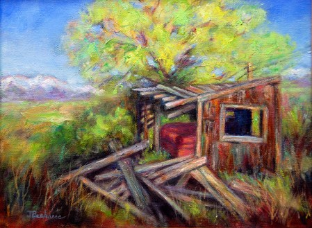 Red Couch in Montana Shack, Image of original oil painting of a rundown shack in Montana with a red couch inside by Joan Pechanec, Mt Shasta, CA, 2014.