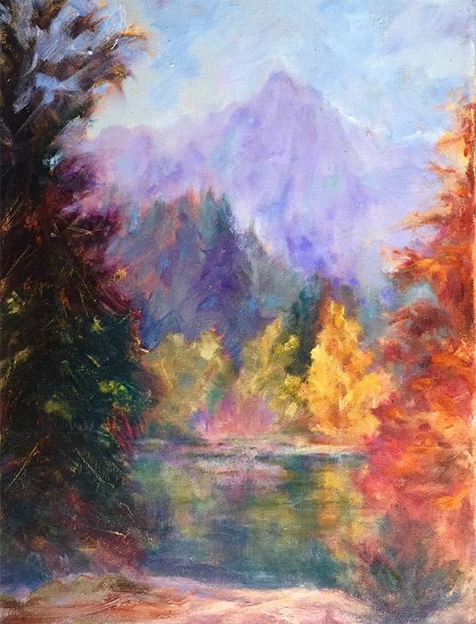 Castle Crags, original oil painting by Joan Pechanec