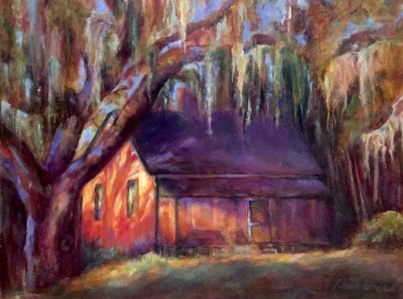 House in Spanish Moss, painting by Joan Pechanec