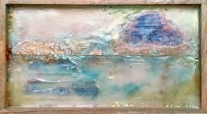 Landscape with Shrine, encaustic on wooden panel, 4 1/2 x 8, $125