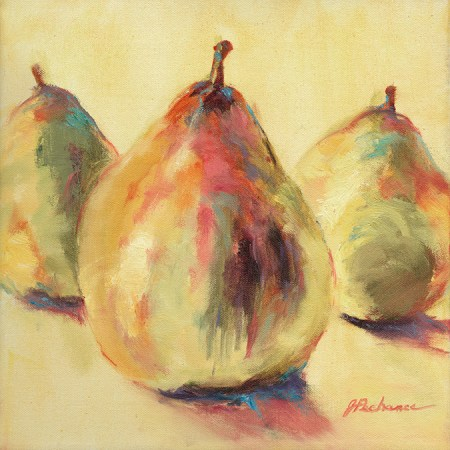 Pears, painting by Joan Pechanec. Original oil painting of pears by artist Joan Pechanec Pears Oil onCanvas 12x12 $225