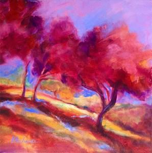 Three Bright Trees, original oil painting by Joan Pechanec