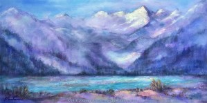 Canadian Glacier, Original Oil Painting by Joan Pechanec, 24 x 12 (1 1/2 gallery wrapped canvas) $325 This painting was inspired by a trip through the Canadian Ice Fields. The evening light was just reflecting off the tip of the glaciers while the rest of the mountains were enshrouded in mist. At the base, the light reflected on the glacier melt. I wanted the viewer to see the unusual milky green of the water and the feel the atmosphere of the high altitude.