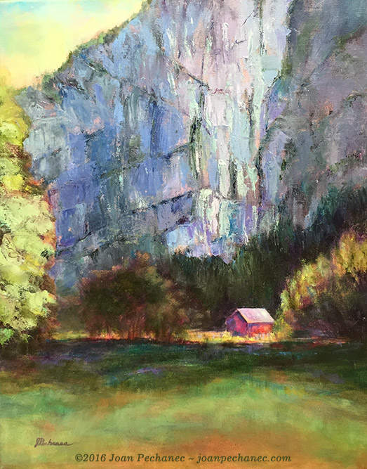 Light in the Valley, Original Oil Painting by Joan Pechanec, 16 x 20 $375 This painting was inspired by a scene from a trip to Switzerland. I loved the proportions, the way the vertical cliff dwarfs the small house in the valley, and the sharp value contrast of the morning light. I used a palette knife to paint the rock surfaces so the painting has a dynamic texture.