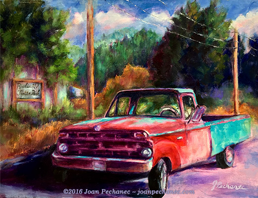 """Two-toned Truck, Original Oil Painting by Joan Pechanec, 12 x 16 unframed (17 x 20 1/2""""Framed) $350 This charming truck is now parked in Dunsmuir. I adore the color combination, red and turquoise, and the patch-work effect of the new parts and the aging, oxidized sections! This is a one-of-a-kind vintage vehicle. What stories could it tell?"""