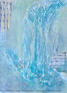 """Waterfall, Encaustic by Joan Pechanec, 11 X 14 x 2 1/2""""$325 I chose to use encaustic for this semi-abstract image of a waterfall. I love the way the layers of wax create a misty effect on the cool greenish-blue of the water. I added thin rice papers and iridescent lights to create additional texture and surface reflection. I was interested in the way the negative spaces with the smooth sheen of the wax are juxtaposed with the thick textures. And, of course, the encaustic wax layers always create a lovely, mysterious mood."""