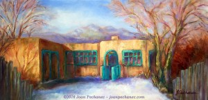 Yellow Adobe Original Oil Painting, by Joan Pechanec, 20 x 10 $275 I love the colors of this adobe house outside of Taos, New Mexico: warm buttery yellow with bright turquoise trim. The clear blue of the sky, the sienna of the tree limbs, and the pale lavender blue of the snow all play beautifully with the adobe.