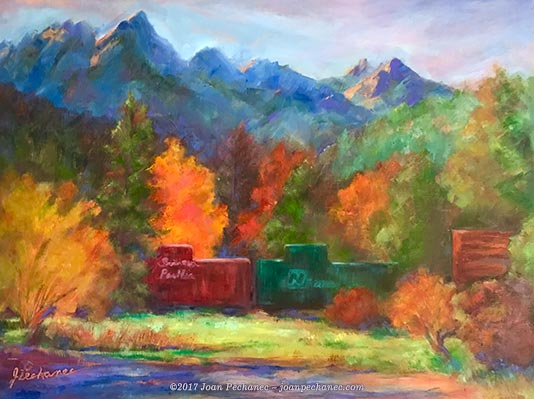 """Railroad Park Oil Image Size: 16 x 12 $300 Includes Frame """"Railroad Park"""" portrays a beautiful resort in Dunsmuir at the foot of Castle Crags. All the motel rooms are in old railroad cars."""