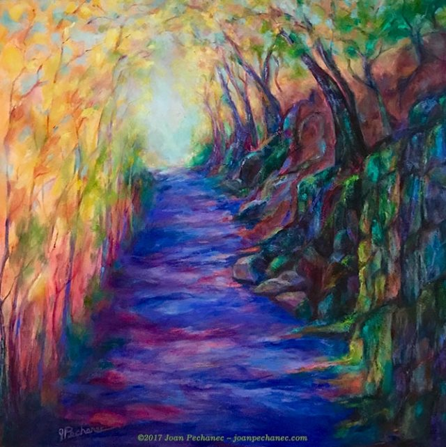 "Up from the River Original Oil Image Size: 20"" x 20"" $550 Includes Frame ""Up from the River"" depicts a favorite road I take on my scooter up a steep hill from the Upper Sacramento River. The shadow side is always dripping with moisture and moss. - Joan Pechanec"