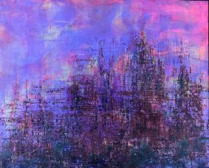 Emerging City: 16 x 20 mixed media painting