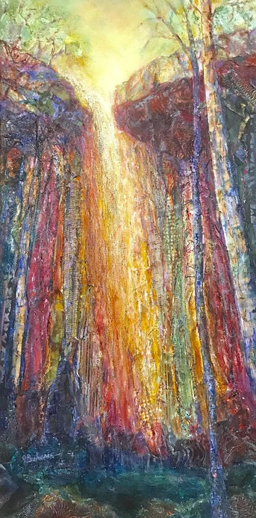 Another Morning at the Falls: 12 x 24 mixed media painting by Joan Pechanec of Hedge Creek Falls, a waterfall in Northern California with slabs of different colored and patterned vertical rock.