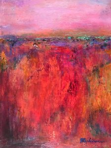 Autumn Fields: 9 x 12 Autumn Fields ~ Oil, cold wax, iridescent oil sticks on birchwood panel ~ 9 x 12 ~ $120