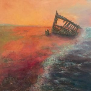 Shipwrecked: 24 x 24 mixed media painting of the Peter Iredale, a ship wrecked and abandoned on the Oregon Coast in 1906
