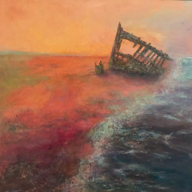 Shipwrecked: 24 x 24 mixed media painting of the Peter Iredale, a ship wrecked and abandoned on the Oregon Coast in 1906, by Joan Pechanec