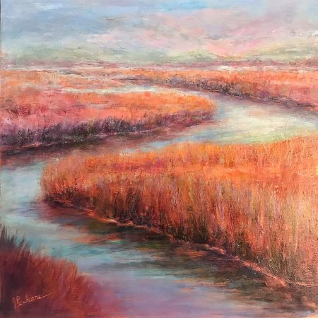 Tranquil Waters: 20 x 20 mixed media painting of a wetlands scene in copper and pastel hues by Joan Pechanec