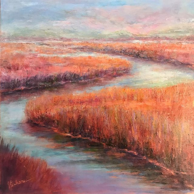 Tranquil Waters: 20 x 20 mixed media paintings of a wetlands scene in copper and pastel hues by Joan Pechanec