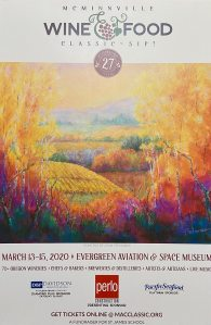 McMinnville wine and food classic poster, featuring painting by Joan Pechanec