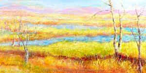 Morning Walk ~ Mixed Media/ Cold Wax on Birchwood Panel ~ 12 x 24 x 1 ½ ~ $475