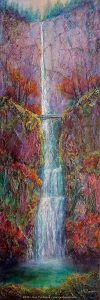Multnomah Falls ~ Mixed Media/Cold Wax on Gallery-wrapped Canvas ~ 12 x 36 x 1 ½ ~ $875