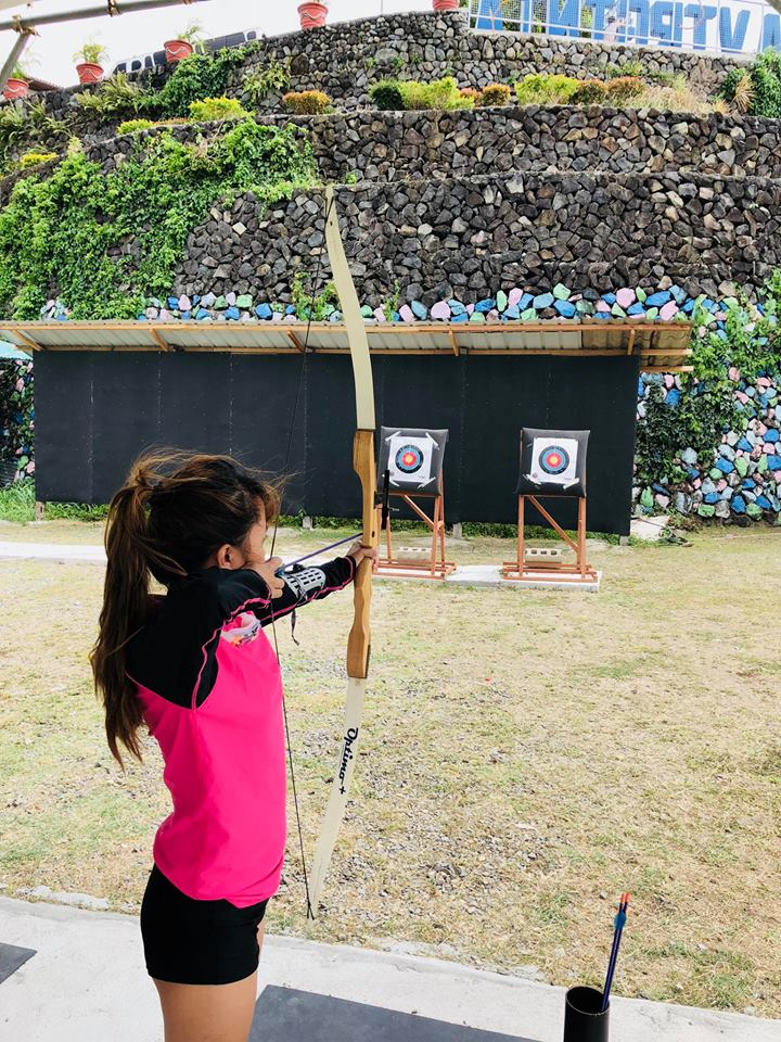 Girl trying archery