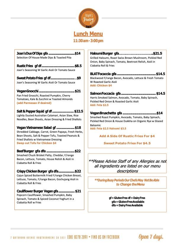 Joans Pantry lunch menu autumn 21