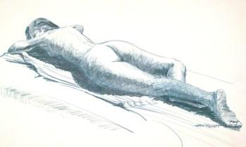 Nude Female Reclining Away