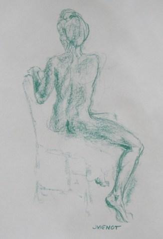 Seated Female Back, Green