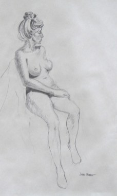 Seated Female Nude with Hair Pinned Up