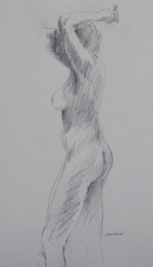 Standing Female Nude Reaching Behind Head