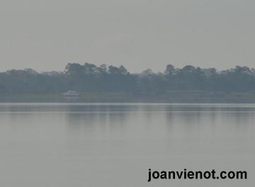 Hazy bay motorboat