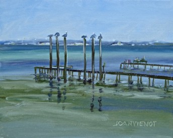 Oil painting of the long docks near Clement Taylor Park, Destin, FL, with 6 pelicans