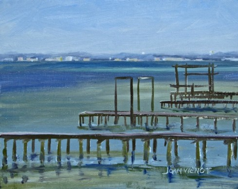 Oil painting of the long docks near Clement Taylor Park, Destin, FL, with no birds
