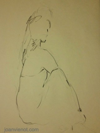 Gesture drawing, female seated in gown, twisting