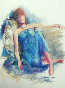 Painting of blue-gowned woman sitting against pillows