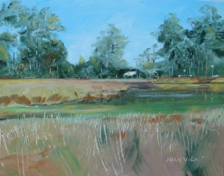 Oil painting of the view into Tucker Bayou, Point Washington, Florida