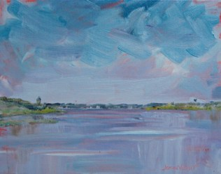 Oil painting of Hogtown Bayou looking west from Cessna Landing