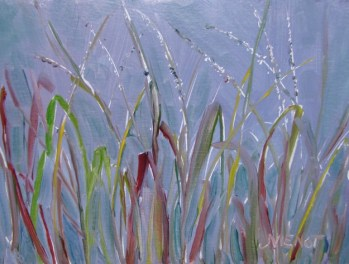 Oil painting of grasses beside the campsite overlooking the Apalachicola River
