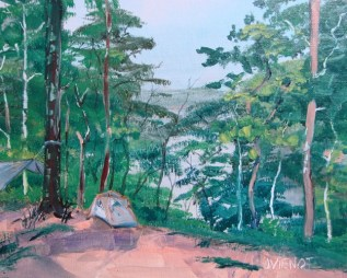 Oil painting of Apalachicola River Bluff campsite 1