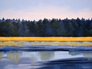 Oil painting of the golden grass in early morning sunlight on Tucker Bayou, Point Washington, FL